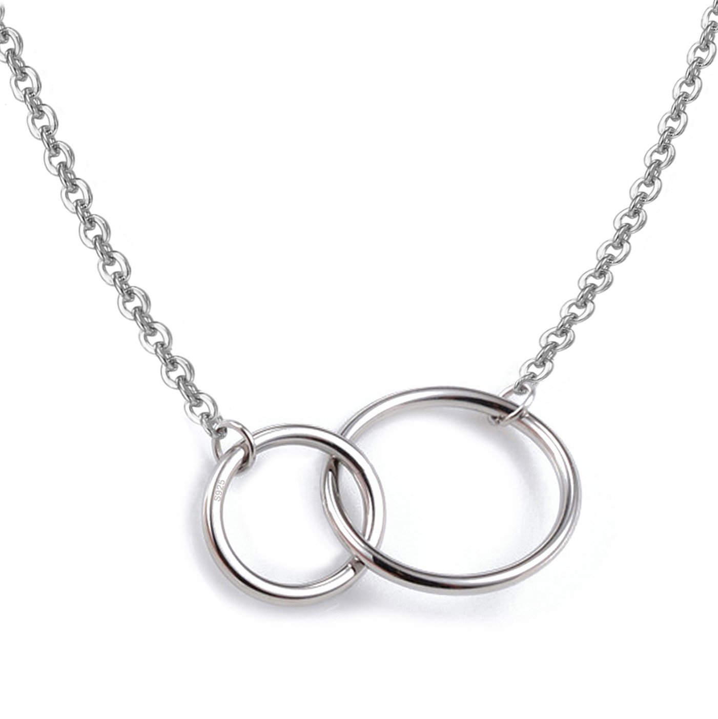 925 Sterling Silver Necklace with Interlocking Two-Circles Pendant Necklace, 16''+2'' Extender