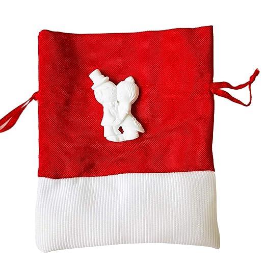 Bolsa pequeña roja y blanca, bolsa de tela con cordón para ...