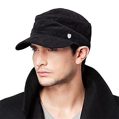 39cca518692 Kenmont Spring Autumn Men Black 100% Cotton Military Hat Baseball Cap   Amazon.co.uk  Clothing
