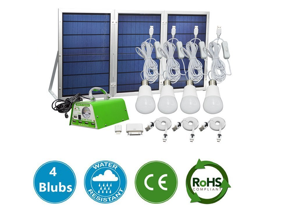 GMFive 30W Panel Solar Home System Kit Including Cell Phone Charger& 4 LED Strong Light Bulbs ¡