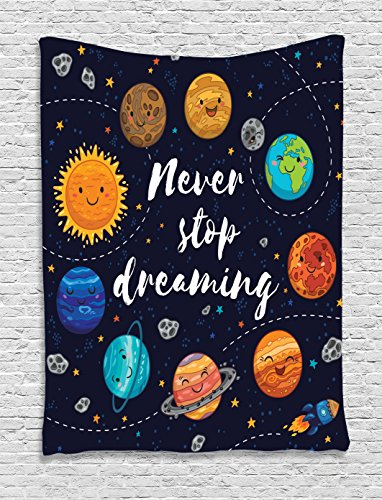 Ambesonne Universe Tapestry Quotes Decor, Cute Outer Space Planets and Star Cluster Solar System Moon and Comets Sun Inspirational Art, Bedroom Living Room Dorm Wall Hanging, 40 x 60 inch, Multi -