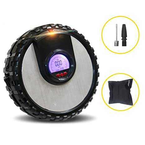 Q&F Compresor de aire portatil Bomba de compresor de aire,Preset inflador de neumáticos digital
