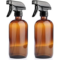 500ml Amber Glass Spray Bottles with Chalk Labels, Heavy Duty Mist & Stream 3-Setting Sprayer, Perfect for Essential Oils (2 Caps, 1 Extra Sprayer, 2 Funnels Included) - 2 Pack