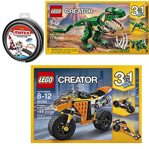 6.5' Suspension (LEGO 3 Piece Bundle Included: Creator Mighty Dinosaurs 31058 Dinosaur toy & Creator Sunset Street Bike 31059 Building Toy and MAYKA Toy Block Tape, 4 stud, 6.5ft Black non-marking)