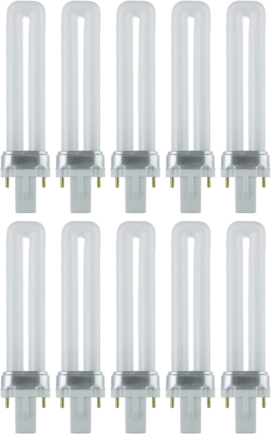 9 Watt Compact Fluorescent Bulb with G23 Base 4100K Color Temperature 10 Units