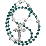 Rana Jabero Emerald (May Birthstone) Swarovski Crystal and Pearl Prayer Catholic Rosary