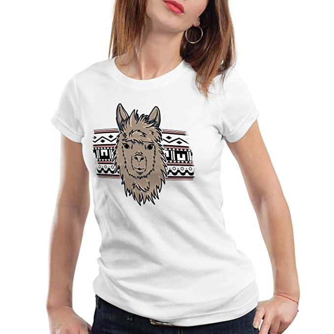 style3 Alpaca Azteca Camiseta para Mujer T-Shirt Lama Nerd Hipster Unicornio: Amazon.es: Ropa y accesorios