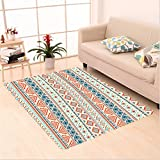 Nalahome Custom carpet al Decor Mexican Style Aztec Pattern Retro Hand Drawn Style Abstract Cream Blue Navy and Scarlet area rugs for Living Dining Room Bedroom Hallway Office Carpet (5' X 7')