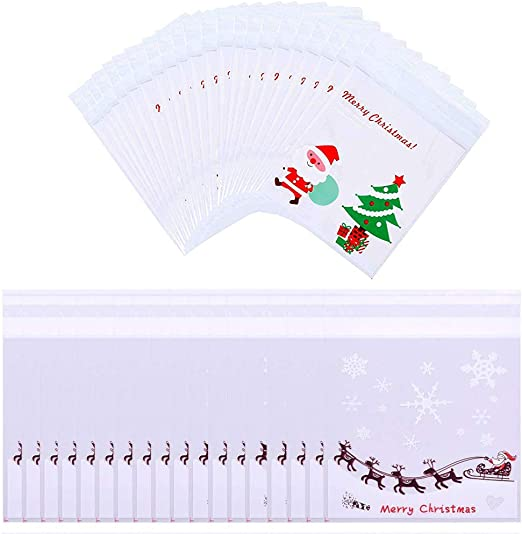 Amazon Com 400pcs Christmas Self Adhesive Candy Cookie Bags Christmas Cellophane Gift Bags Treat Bags For Bakery Snacks Dessert Christmas Party Supplies With 4 Different Style Kitchen Dining