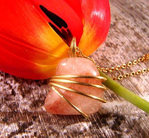 - Genuine Strawberry Quartz Crystal Wire Wrap Pendant Merlin's Gold Bronze #11