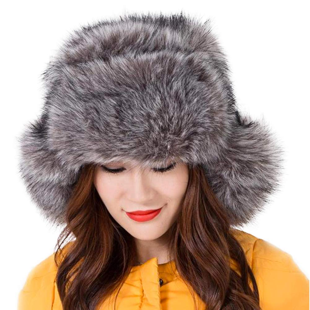 Dikoaina Faux Fur Snow Trapper Hat with Ear Flap for Skiing Head Circumference 22''-22.8'' by Dikoaina