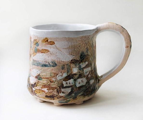 6b506cf8be3 Amazon.com: Ceramic coffee mug hand built, pottery mug, unique mug ...