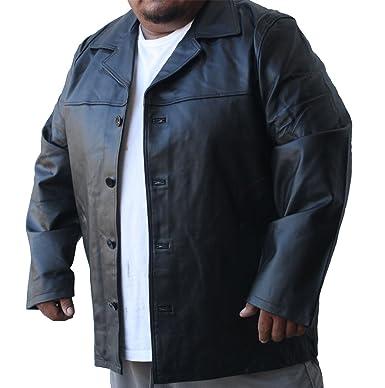 Dona Michi Big Sizes Men Genuine Leather Long car Coat Jacket Buttons  Closure Black Large 4fd92dd23868