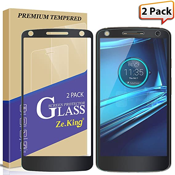 [2-Pack] Moto Droid Turbo 2 Full Coverage Screen Protector, Zeking Tempered