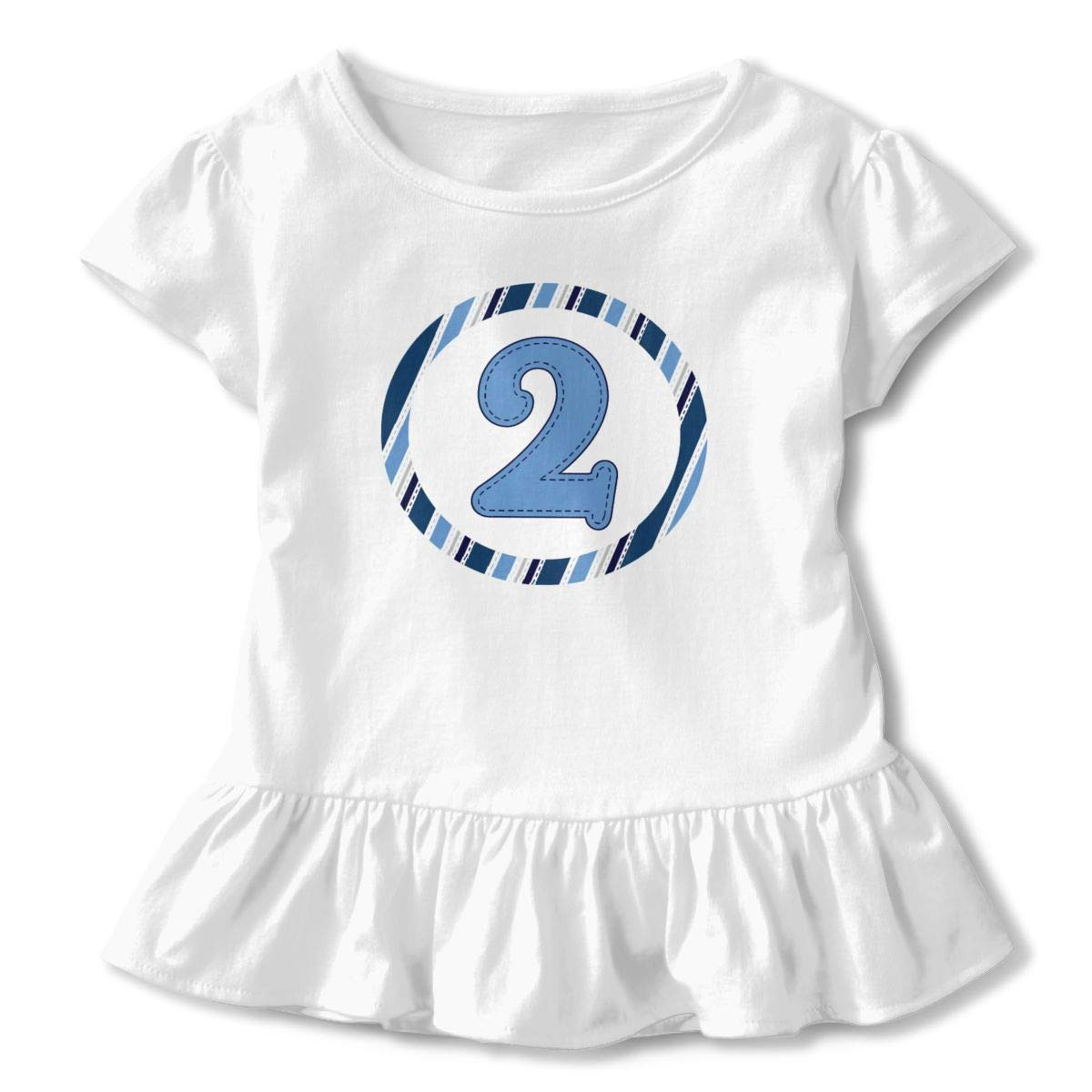 CZnuen 2nd Birthday Baby Girls Round Neck Short Sleeve Ruffle T-Shirt Top