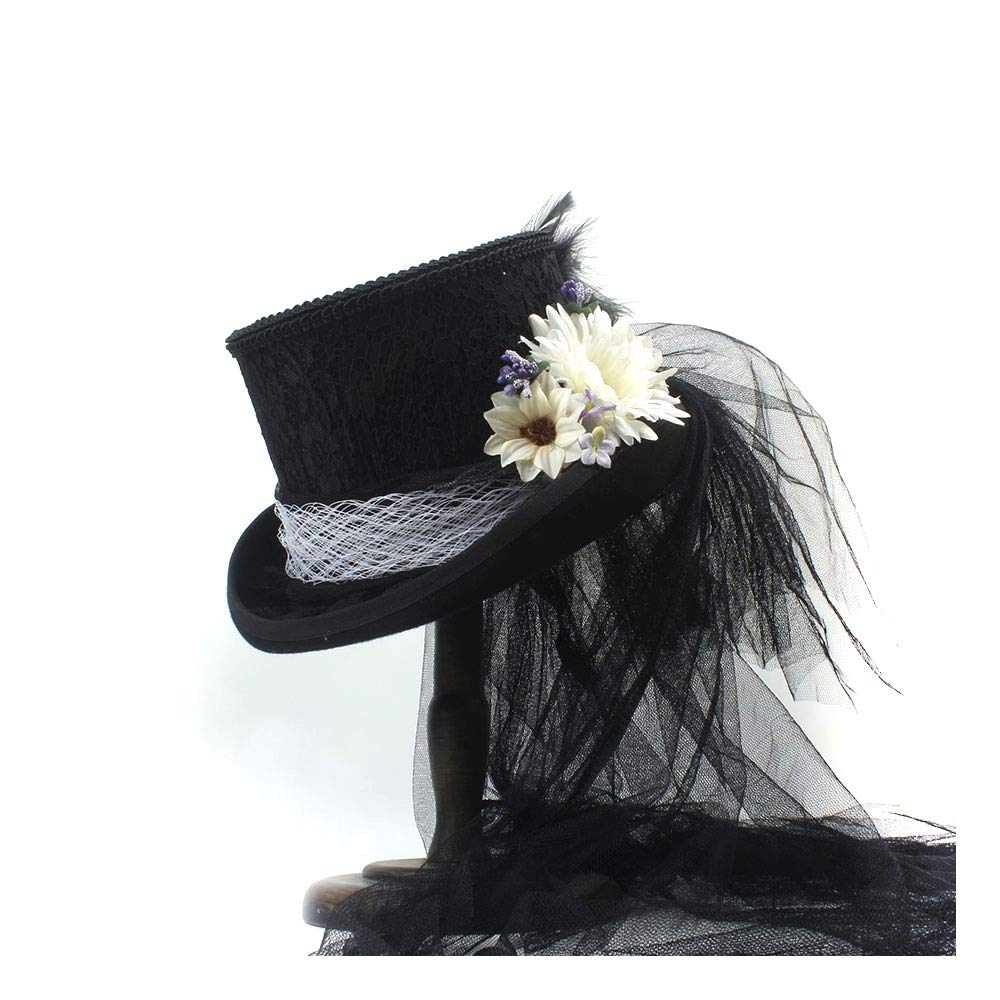 LL Women's Victorian Gothic Steampunk Wedding Top Hat Off White Ivory Hat, Rhinestone Gala Hat, Wedding Top Hat,Tea Party (Color : Black, Size : 55CM) by LL (Image #2)