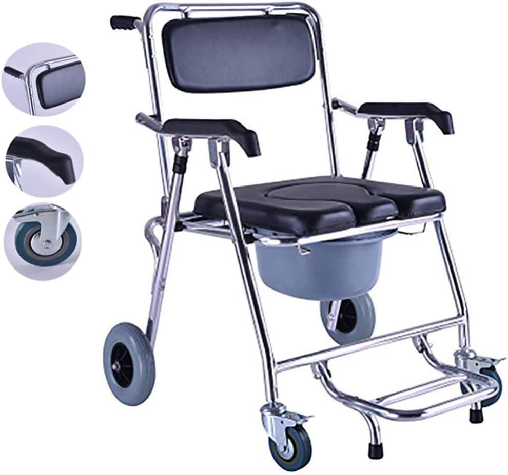 Silla cómoda Plegable - con Asiento de Inodoro Acolchado/Taburete de Ducha para baño/Silla de Ruedas móvil portátil para Anciano/Discapacitado