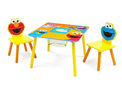 Delta Children Sesame Street Wood Kids Table and Chairs Set with Storage