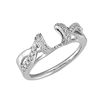 bf9f50fbef2f8 Security Jewelers 14k White Gold 1/5 CTW Diamond Ring Wrap, 14kt ...