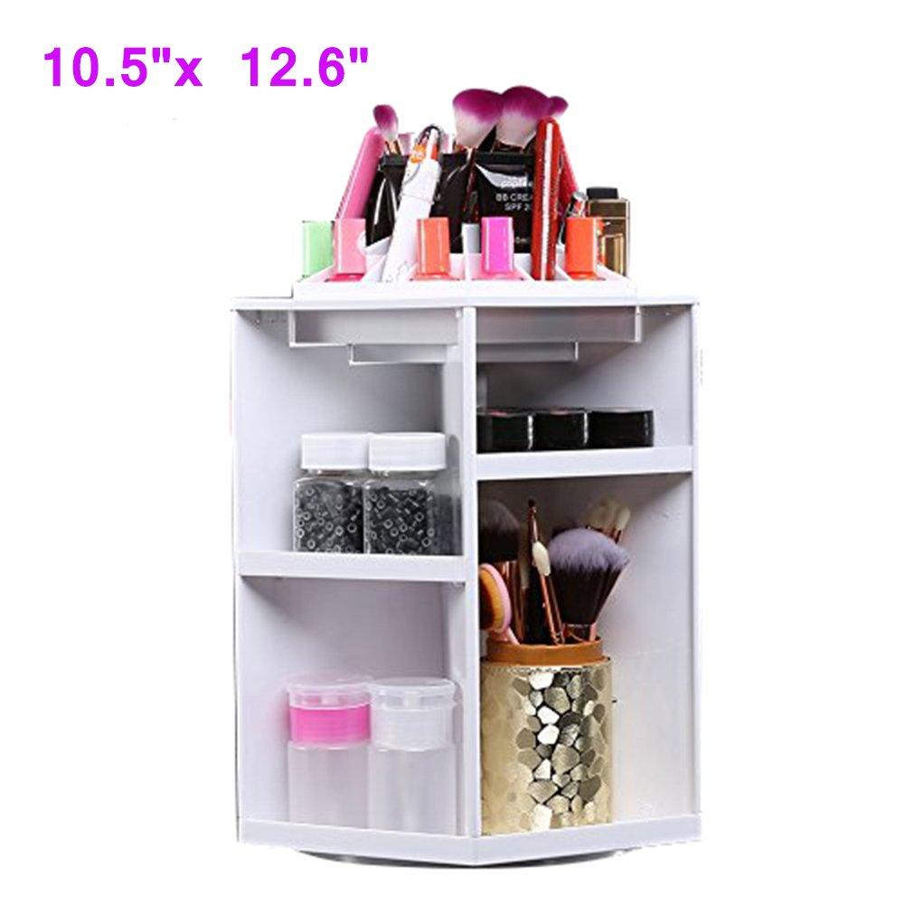 360-Degree Rotating Makeup Organizer, Large Capacity Acrylic Cosmetics Storage Tower-White Yosoo