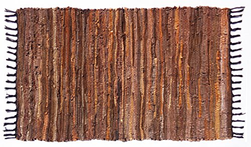 Cotton Craft Leather Chindi Rug 2x3 Feet - Tan Multi - Hand woven & Hand Stitched - Strips of Genuine Leather are woven by hand to get this attractive artisan (Hand Woven Leather)