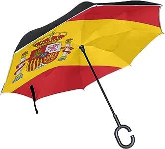 Paraguas Ultravioleta Plegable invertido de Doble Capa Bandera Detallada Alta España Paraguas de Mesa Plegable Paraguas inverso Pequeña protección UV a Prueba de Viento para la Lluvia con Mango en fo: Amazon.es: