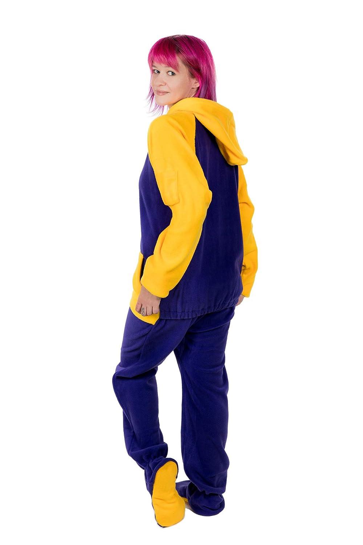 Kajamaz Spruzzata di Limone Tuta Intera in Pile Unisex Pigiama con Piedi per Adulti Tuta Intera con Piedi per Adulti E Bambini Color Giallo E Viola