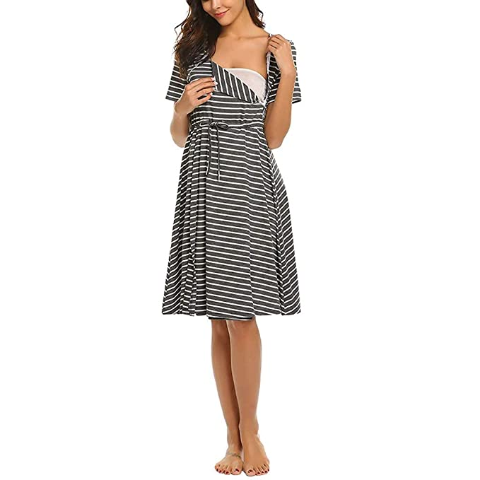 Women Maternity Dress Breastfeeding Nursing Stripe Tunic Summer Casual Pregnant Tank Dresses