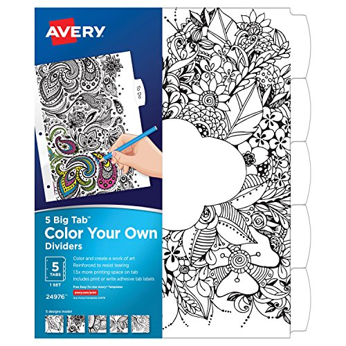 Top Avery Big Tab Reversible Fashion Dividers, Color Your Own Design, 5-Tab Set (24976) supplier