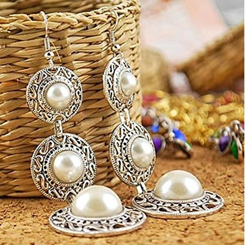 Rabbit Chandelier (AOBILE(TM) Boho Faux Pearl Retro Silver Circle Chandelier Ear Earrings Dangle Hook)