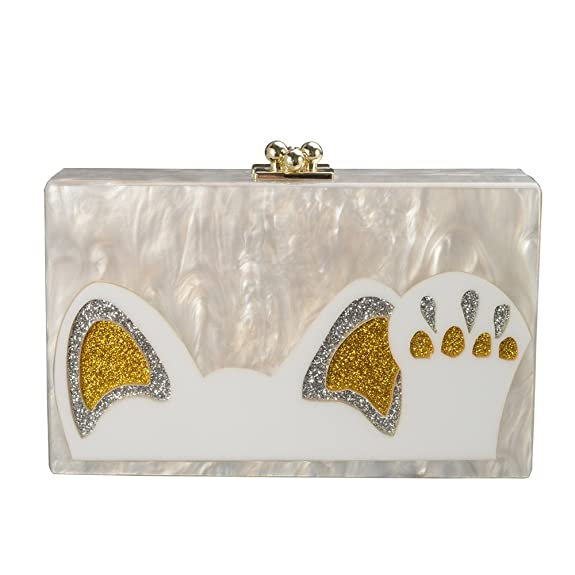 Vintage & Retro Handbags, Purses, Wallets, Bags GGBAZZARA Women Cute Cat Claw Clutch Acrylic Evening Handbag Cross-Body Purse Bag $29.88 AT vintagedancer.com