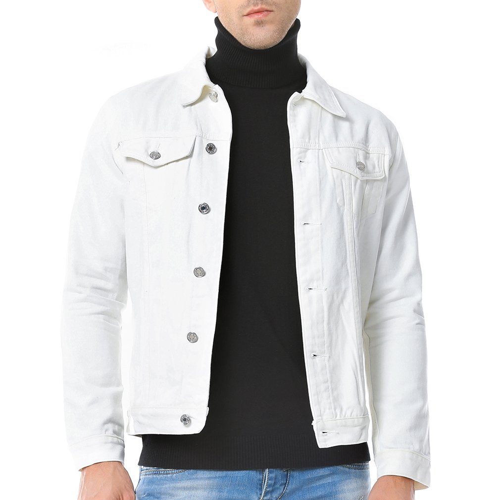 Just No Logo Men's Casual Denim Jacket(White,US Large) by Just No Logo