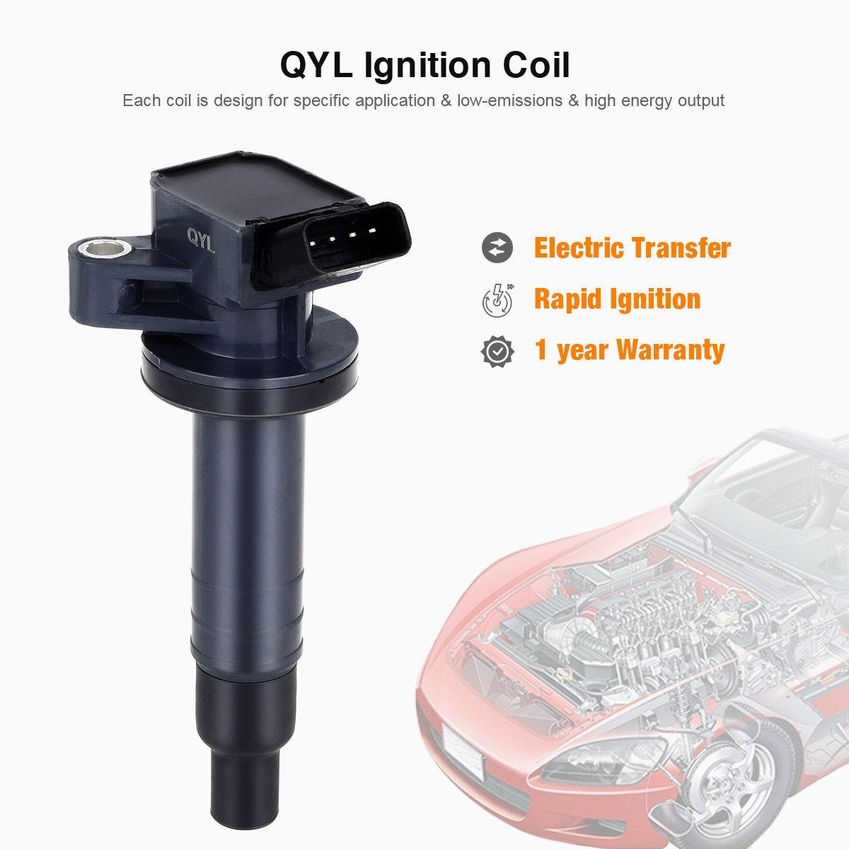4Pcs Ignition Coil Pack Fits Toyota Celica GT Corolla Matrix MR2 Pontiac Vibe Chevy Prizm L4 1.8L 1ZZFE UF247 9091902239 C1249 UF-315
