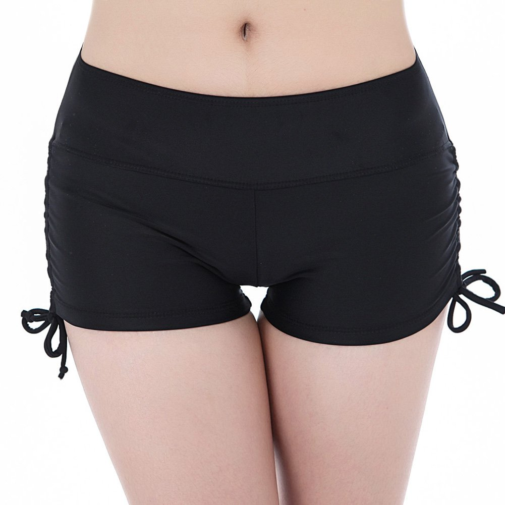 Guumor Womens Fashion Yoga Board Shorts Stretch Beach Swimsuit Bottoms with Adjustable Ties Black M
