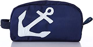 product image for Sea Bags Recycled Sail Cloth White-on-Navy Anchor Toiletry Bag