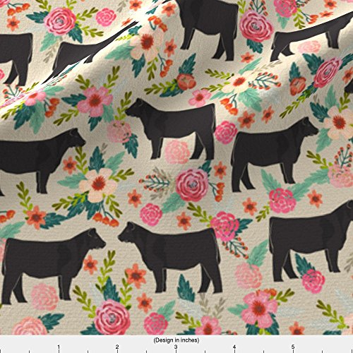 Cow Fabric - Spoonflower Show Steer Fabric Steer Floral Fabric Show Steer Cows Farm Barn Fabric Florals Design - Sand by Petfriendly Printed on Basic Cotton Ultra Fabric by the Yard