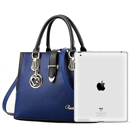 3fed1af0f8132 BestoU Damen Handtaschen Schwarz groß taschen Leder moderne damen handtasche  gross schultertasche Frauen Umhängetasche (Blau)  Amazon.de  Koffer
