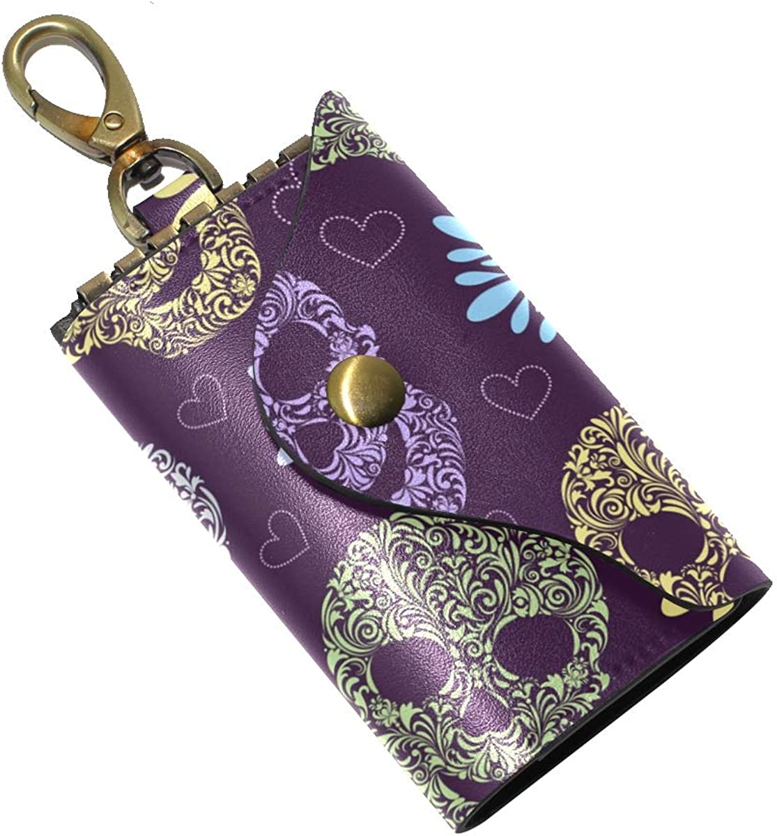 KEAKIA Abstract Flower Leather Key Case Wallets Tri-fold Key Holder Keychains with 6 Hooks 2 Slot Snap Closure for Men Women