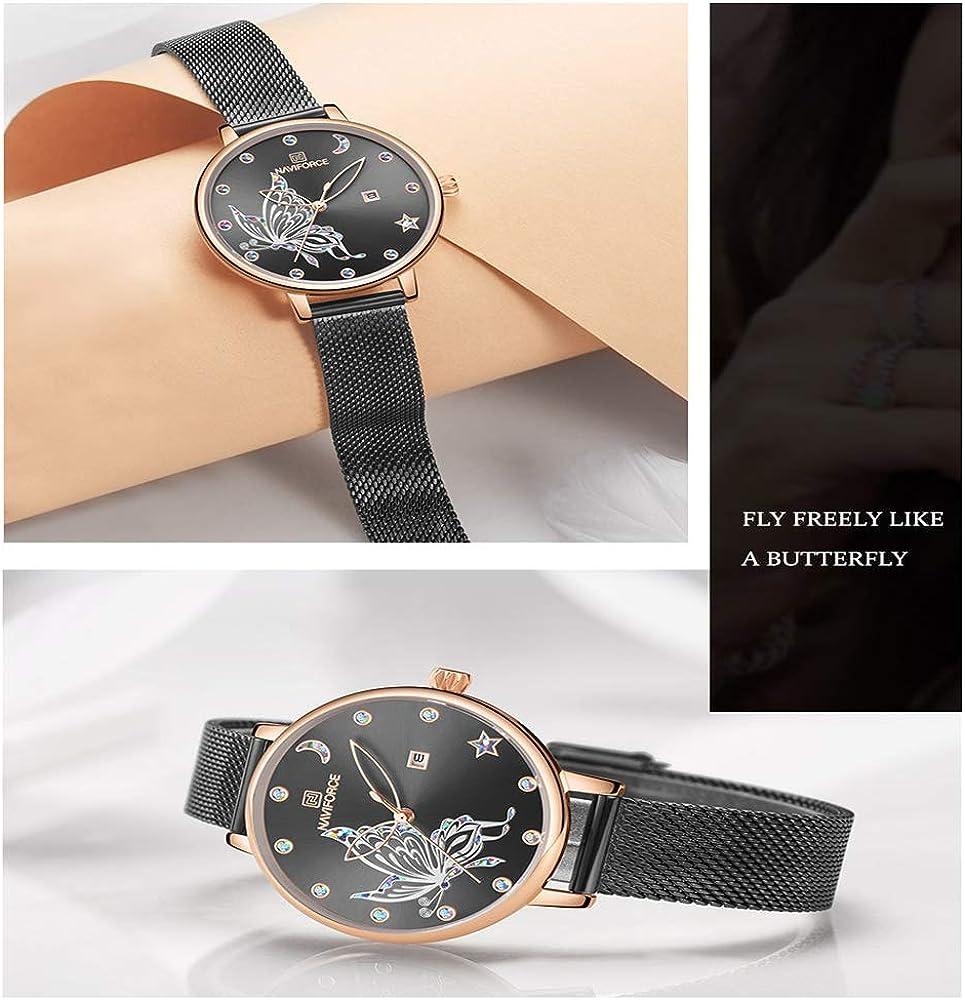 Montre Chrono Montre en Cristal de Femmes Top Marque en Or Rose en Acier Maille Dames Montres-Bracelets Bracelet Filles Montre-Bracelet Noir