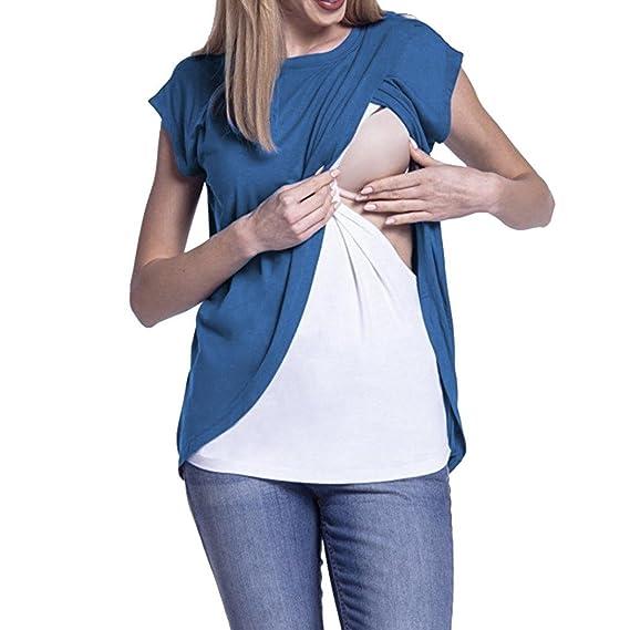 Gusspower Blusas para Mujeres Embarazadas,Patchwork Camisa de Manga Corta para Mujer Casual Camiseta Mujer