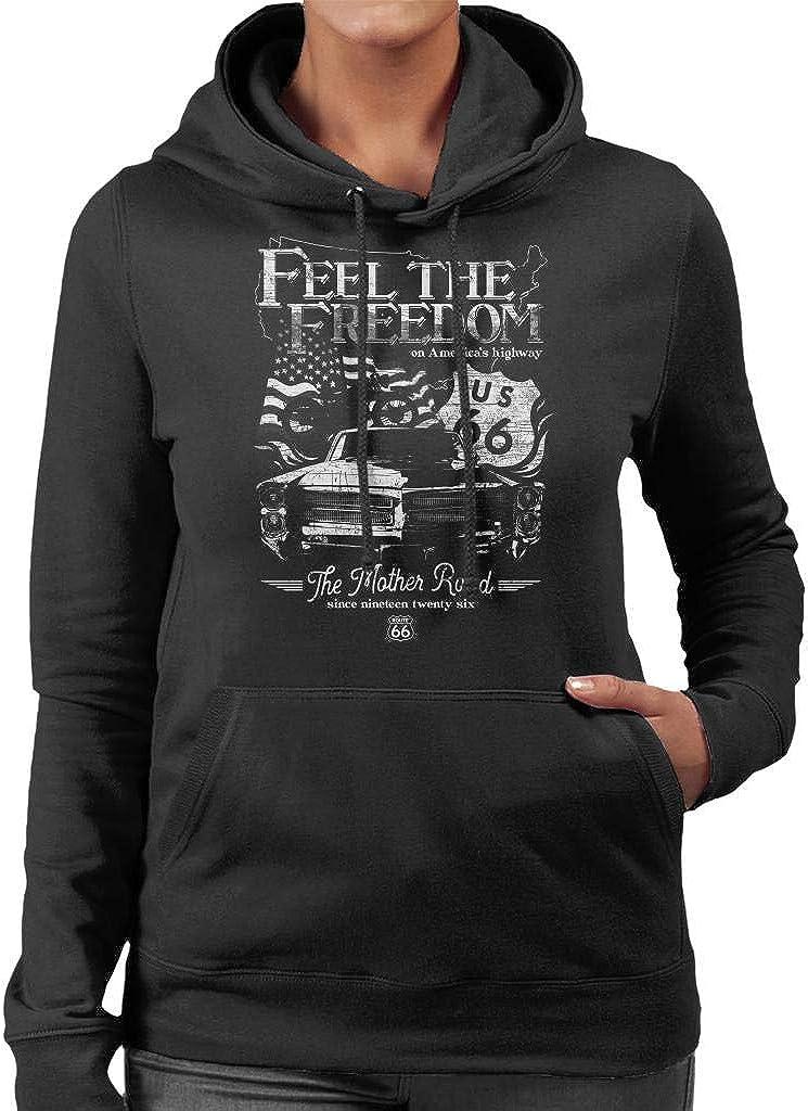 Route 66 Feel The Freedom Americana Womens Hooded Sweatshirt