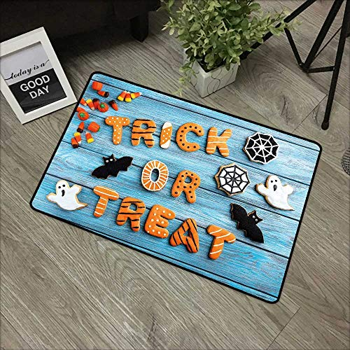 Learning pad W31 x L47 INCH Halloween,Fresh Trick or Treat Gingerbread Cookies on Blue Wooden Table Spider Web Ghost,Multicolor Non-Slip, with Non-Slip Backing,Non-Slip Door Mat Carpet