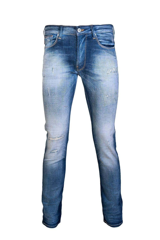 ce0b3fbfdf585 Emporio Armani Slim Fit Stone Washed Distressed Blue Jeans  Amazon.co.uk   Clothing