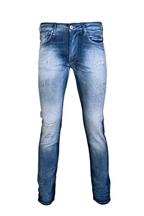 3fb37a6d6c Emporio Armani Slim Fit Stone Washed Distressed Blue Jeans W32 - L30 ...