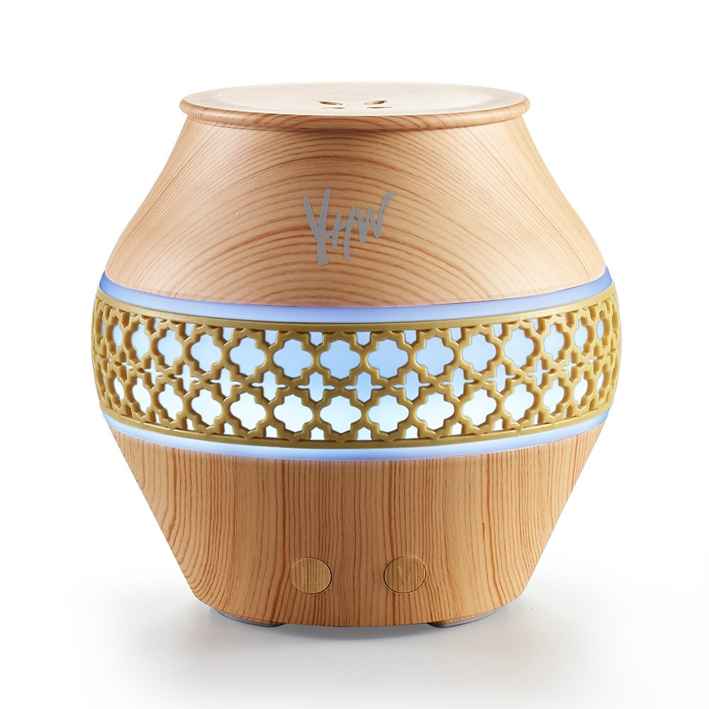 YHW Cool Mist Humidifiers Aromatherapy Diffuser, 6 to 12 hours Essential Oil Diffuser Nightlight, 100~240V Ultrasonic Scent Vaporizer for Home, Baby, Kids, Office, Travel, Cruise, Light Wood Color