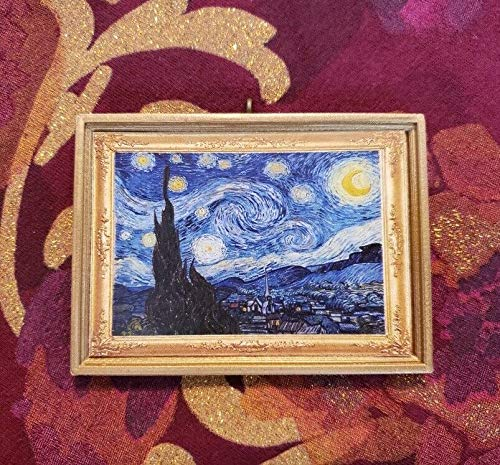 The Starry Night Miniature Vincent Van Gogh Without a Bail. Dollhouse Miniature