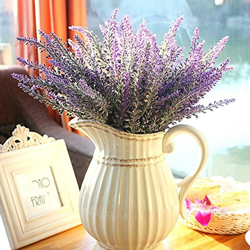 10 Bundles Artificial Lavender, Lavender Purple Flowers Lavender Bouquets Simulation Flowers for Wedding Bridal Bouquet Arrangements Home Kitchen Garden Office Table Decorations (Bundles Flower)