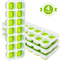 TOPELEK 4 Packs Ice Cube Tray, Lfgb Certified BPA Free Moulds with Non-Spill Lid, Best for Freezer, Baby Food, Water, Whiskey, Cocktail and other Drink, Green