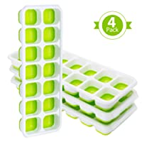 TOPELEK 4 Packs Ice Cube Tray, LFGB Certified BPA Free Ice Cube Tray Moulds with Non-Spill Lid, Best for Freezer, Baby Food, Water, Whiskey, Cocktail and Other Drink