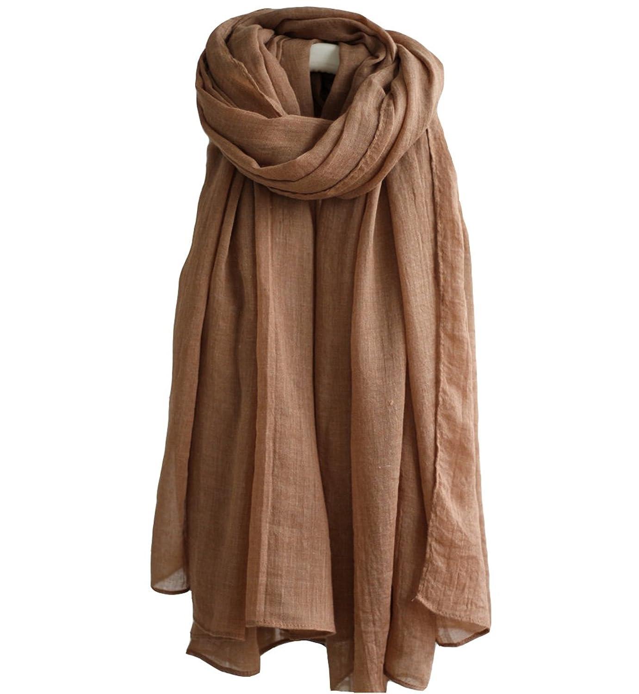 "17 Colors Womens Lightweight Cotton-Linen Blend Large Wrap Scarf,75""X30"""